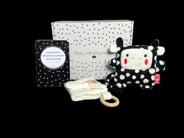 Dárková krabička kontrasr s černobílými kartami, hračkou a muchláčkem